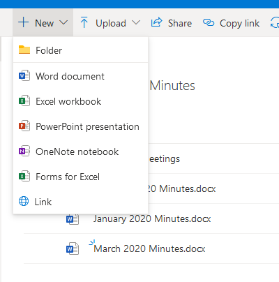 The opened menu when New is clicked, including Folder, Word document, Excel workbook, etc