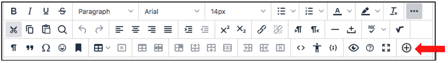 View of th Blackboard content editor with the Mashups button highlighted on the third row of options