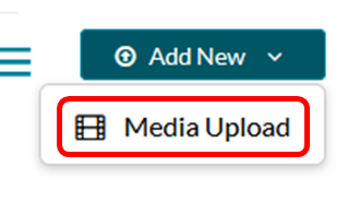 "The expanded ""Add New"" button showing the link for ""Media Upload"""