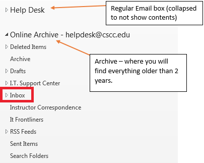 Image of regular inbox with online archive below it