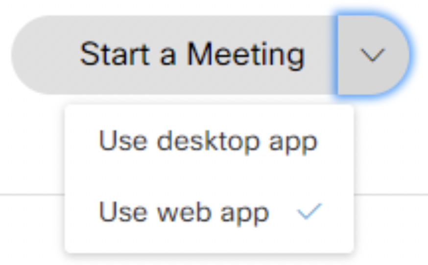 image of Start a Meeting drop down