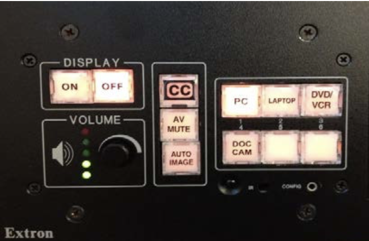 Smart Classroom Extron Control Panel in the powered off state; PC is selected as the current display; Volume is just under 50%.